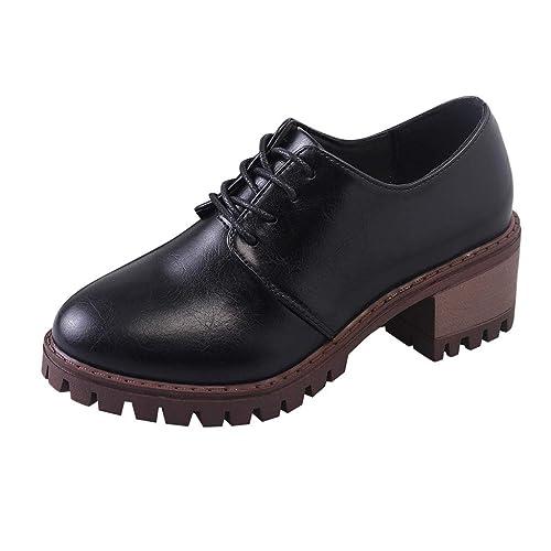 Zapatos de Cordones de Tacón para Mujer, Mocasines Zapatos Plano Punta Cuadrada de Mujer: Amazon.es: Zapatos y complementos