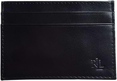 Lauren Ralph Lauren Men's Leather Card Case Wallet Money Clip Black