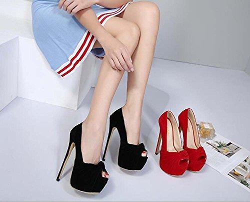 Dress Peep 7cm Shoes Bowknot Party 35 Sandals Pump16cm Wedding Stiletto Shoes Shoes Black 40 Eu Platform Thick Women Toe Seude Size qIzwZfw5