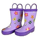 kids bee rain boots - Foxfire Girls Purple Floral Butterfly Print Rubber Boots 5 Toddler