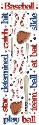 (Fiskars Rain Dots Dimensional Epoxy Stickers, Baseball Words and Shapes)