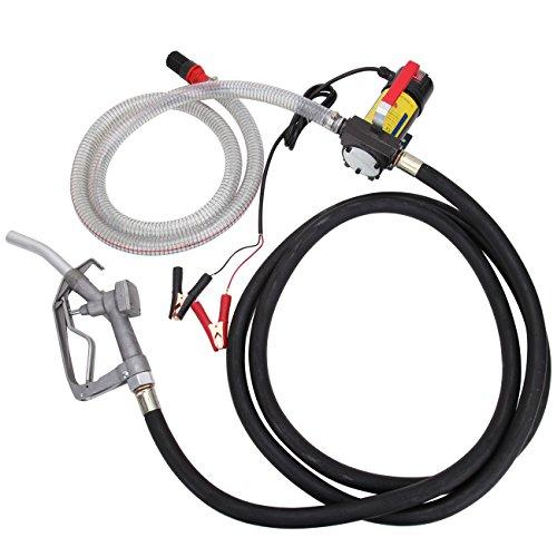 PanelTech Electric Fuel Oil Transfer Pump Diesel Oil Kerosene 12V Transfer Extractor Pump Self Priming 45L/min With Hose & Nozzle (12 Volt Dc Fuel Transfer)