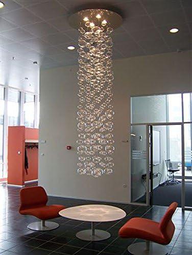 7PM W20″ x H98″ Modern Contemporary Bubble Glass Raindrop Chandelier Lighting Flush Mount LED Ceiling Light Fixture