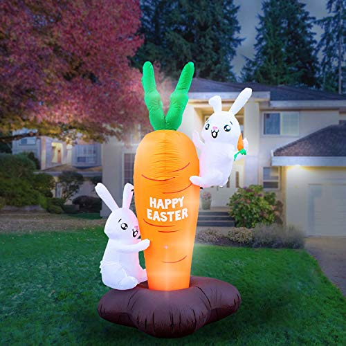 Holidayana 8 Foot Inflatable Easter Bunny Climbing Carrot Decoration, Includes Built-in Bulbs, Tie-Down Points, and Powerful Built-in Fan ()