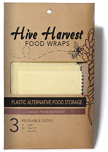 Reusable Beeswax Food Storage Wrap, Ink & Dye-Free, Unbleached Organic Cotton, 3 Pack, Alternative to Plastic Clinging Wrap, Made from Sustainable Materials, Sandwich & Veggie Wrap, Bowl Covers
