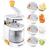 vegi slicer - VegMate Spiralizer Vegetable Slicer, Vegetable Spiralizer Spiral Slicer Cutter with Built-in 4-in-1 Rotating Blades and Strong Suction Base, Pasta Spaghetti Maker for Low Carb,Paleo,Gluten-Free Meals