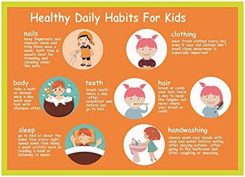 ملصق العادات اليومية الصحية للأطفال ملصقات صحية للأطفال ملصقات الرعاية النهارية والأدوات التعليمية وديكورات الفصول الدراسية مثالية للمدرسة المنزلية وفصول رياض الأطفال 40 7 سم 60 9 سم Amazon Ae