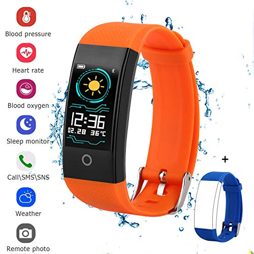 QWMoonRu Fitness Tracker for Men Women Kids, Waterproof Color Screen Activity Tracker with Heart Rate Blood Pressure Blood Oxygen Sleep Monitor, Pedometer Watch with Step Calories Counter