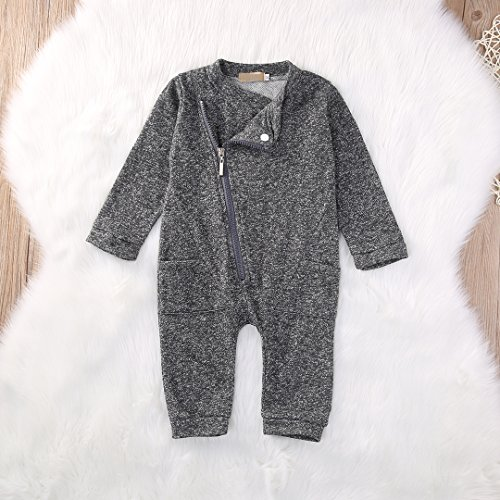 Zipper Romper with Pocket for Baby Boy (0-6 Months, Gray)