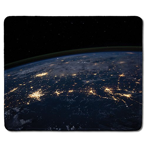 dealzEpic - Art Mousepad - Natural Rubber Mouse Pad Printed with View of Earth From the Outer Space At Night - Stitched Edges - 9.5x7.9 inches - Custom Printed Mouse Pad