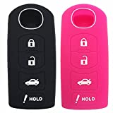 Ezzy Auto Black and Hot Pink Silicone Rubber Key Fob Case Key Covers Key Jacket Skin Protector fit for Mazda 4 Buttons Key