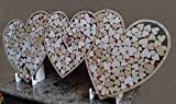 """Triple Heart Drop Alternative Wedding Guest Book Shadow Box with 1.5"""" Heart Charms"""