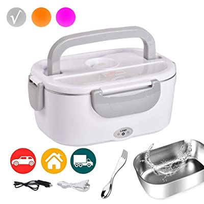 Electric Lunch Box Food Heater Car and Home 110v 12v Food Warmer for Adults Kids with Individual Box & 2 in 1 Fork & Spoon Grey: Kitchen & Dining