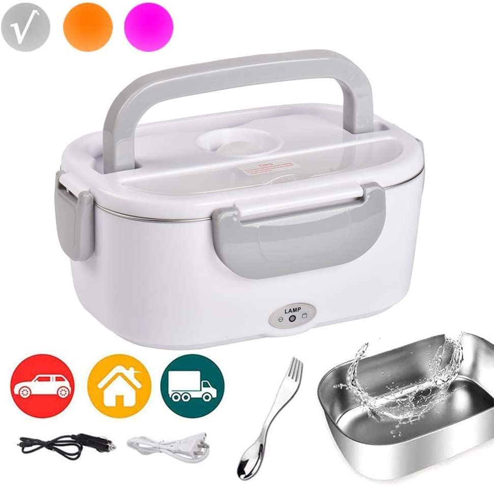 Electric Lunch Box Food Heater Car and Home 110v 12v Food Warmer for Adults Kids with Individual Box & 2 in 1 Fork & Spoon Grey