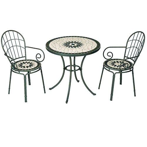タンジール モザイク 3点セット マットグリーン (テーブル1台、チェアー2脚) B001U7F2R8