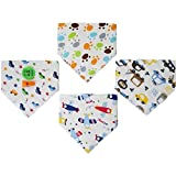 Drool Bib Bandanas Boys Fun-to-Wear Set of 4 with Clip Reversible