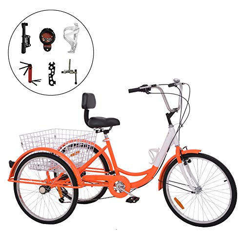 Barbella 26 Inch 3 Wheel Adult Tricycle Bike Cycling Pedal Cruiser Bicycles Folding Basket with Cipher Lock, Bike Pump, Assembly Tools (Orange, 7 Speed)