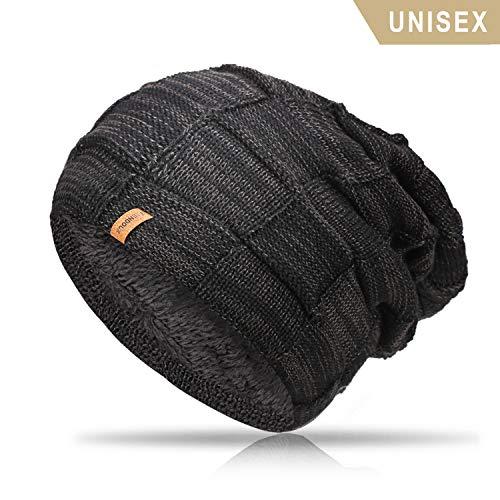 - TRENDOUX Beanie Hat Men, Winter Knit Hats Warm Lining Women - Acrylic Unisex Plain Skull Cap - Baggy Slouchy Toboggan Beanies - Black
