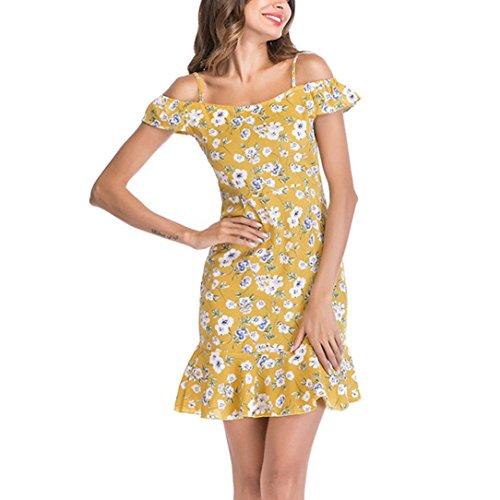 MODOQO Women Floral Chiffon Dress Slim Sling Shoulder Ruffle Beach Mini Dress