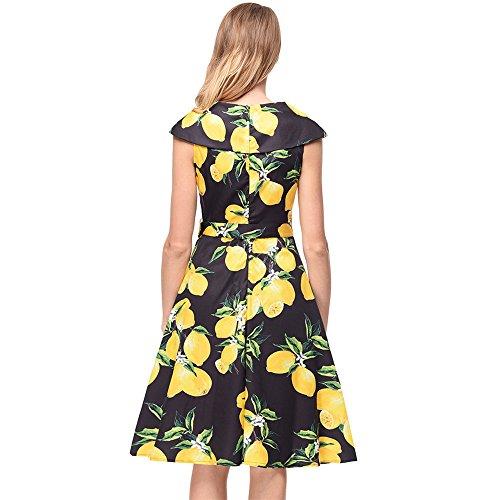 Women's Spring Printed Dress Skirt Retro New Style Summer Black Big SJMM xIfqPn0wTC