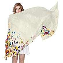 LORVIES Colorful Music Notes Silk Scarf Lightweight Long Scarf Shawl Wrap for Women