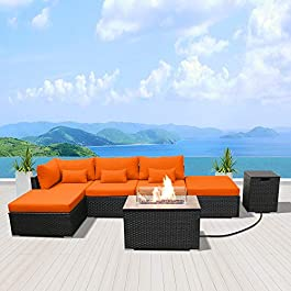 Modenzi Outdoor Sectional Patio Furniture with Propane Fire Pit Table Espresso Brown Wicker Resin Garden Conversation Sofa Set