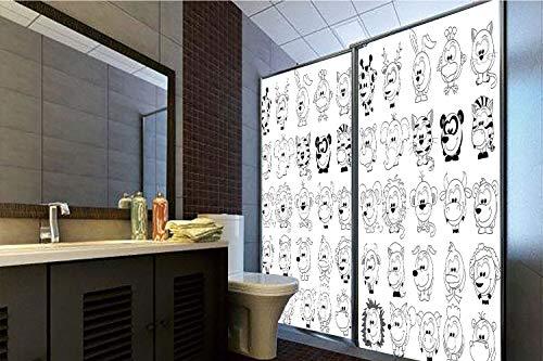 Horrisophie dodo 3D Privacy Window Film No Glue,Doodle,Assortment of Cartoon Style Animals Cat Zebra Girraffe Pig Panda Monkey Animal Fun,Black White,47.24