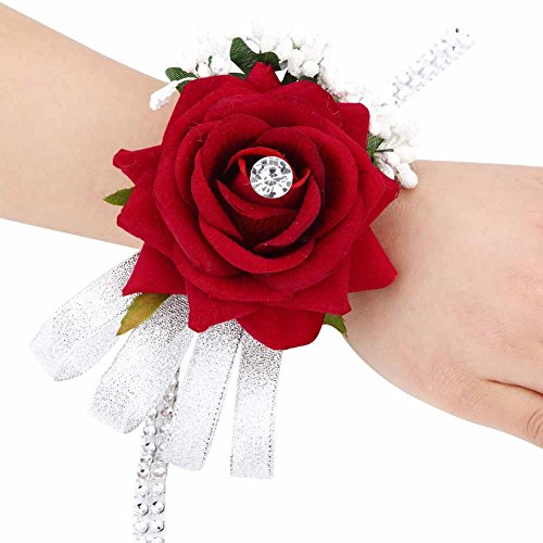 ACTLATI Elegant Hand Rose Flower Bride Bridesmaid Wrist Corsage Wedding Faux Crystal Bling Ribbon Wristband Wine Red -