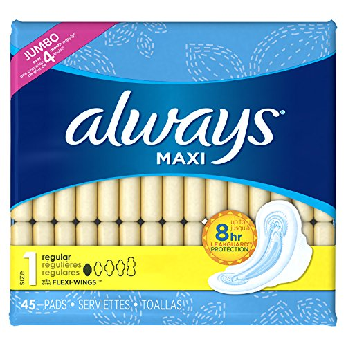 always-pads-regular-w-flexi-wings-unscented-45-ct