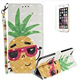 Funyye Folio Wallet Case for iPhone 6 Plus/6S Plus,Stylish 3D Pineapple Fantasy Painted Design Strap Magnetic Flip Case with Stand Credit Card Holder Slots Soft Silicone PU Leather Case for iPhone 6 Plus/6S Plus 5.5 inch,Full Body Shockproof Non Slip Smart Durable Shell Protective Case with Screen Protector