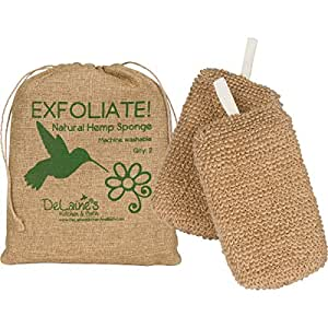 DeLaine's Exfoliating Body Scrubber - Natural Hemp Covered Sponges - Luxurious Healthy Skin Care for Women and Men - Hygienic and Durable to Last a Long Time - Extra Sudsy - Machine Wash - Set of 2