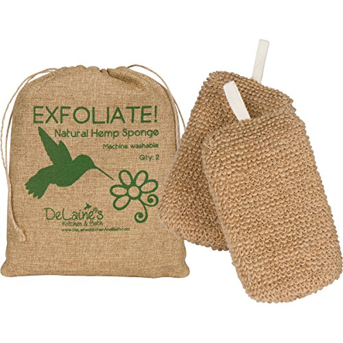 DeLaine's Exfoliating Body Scrubber - Natural Hemp Covered Sponges - Set of 2 To Double Your Pleasure - Luxurious Skin Care for Women and Men - Hygienic - Long Lasting - Extra Sudsy - Machine Wash by DeLaine's Kitchen and Bath