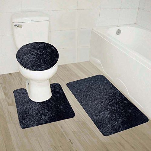 Luxury Home Collection 3 Piece Shaggy Solid Bathroom Set Includes Contour, Toilet Lid Cover, and Non-Slip Shaggy Mat with Rubber Backing (Black) ()