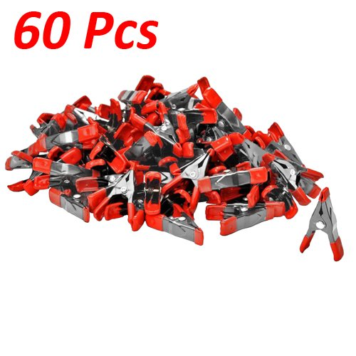 Wideskall® 2'' inch Mini Metal Spring Clamps w/ Red Rubber Tips Clips (Pack of 60) by Wideskall