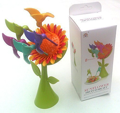 Toy! Sunflower Fruit Fork Set (5 Hummingbird) combinations out of top designer.(Rare items)