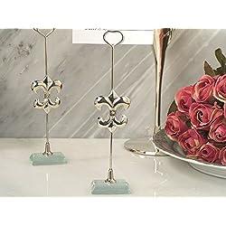 Silver Fleur de lis place card holder