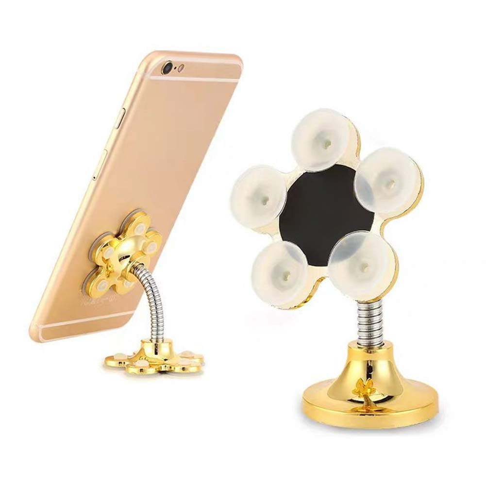 Infgreate Universal 360° Swivel Collapsible Flower Shape Car Home Magic Suction GPS Phone Stand Holder with Suction Cup Rotating Home Use Rose Gold