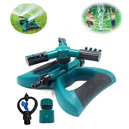 DTC Lawn Sprinkler, Automatic 360 Rotating Adjustable Garden Water Sprinklers Lawn Irrigation System Covering Large Area with 3 Arm Sprayers - Up 3600 SQ FT Coverage-Leak Free Durable (Spray Area)