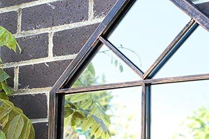 Reflejar Metal renacimiento visera espejo de cristal jardín al ...