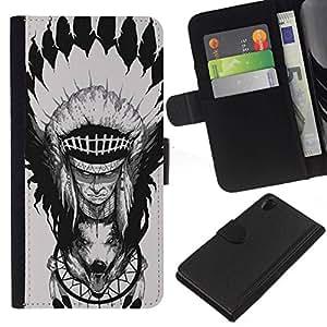 All Phone Most Case / Oferta Especial Cáscara Funda de cuero Monedero Cubierta de proteccion Caso / Wallet Case for Sony Xperia Z2 D6502 // Feather Head Decoration Wolf Totem
