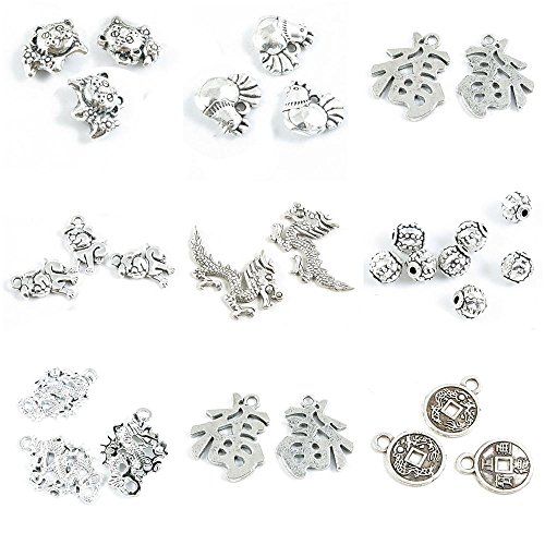 29 Pieces Antique Silver Tone Jewelry Making Charms Chinese Cash Coins Character Blessed Lucky Dragon Lantern Loose Beads Zodiac Dog Bulldog Chicken Tiger