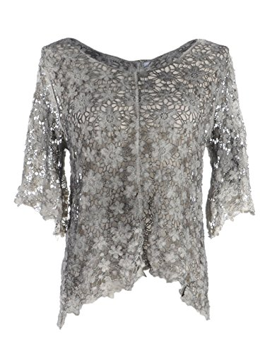 Anna-Kaci S/M Fit Grey See Through Floral Lace Bell Sleeve High Low Hem Top