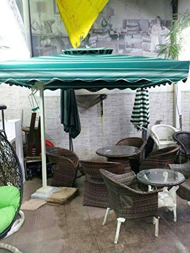 Wicker HUB GC503 Outdoor Umbrella with Marble Base Green White Strips