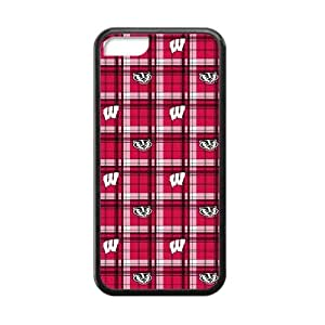 Generic Custom Best Design NCAA Wisconsin Badgers Team Logo Plastic and TPU Black and White Case Cover for iPhone4/4s
