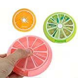 7 Day Weekly Portable Plastic Rotating Pill Jewelry Box Cases Container Organizer Travel Cute Fruit Style Medicine Vitamins Holder Storage Dispenser (Pink)