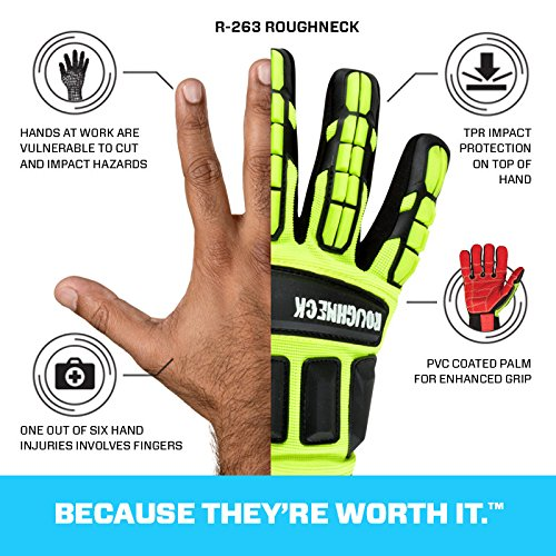 Ringers Gloves R-263 Roughneck LS, Heavy Duty Impact Glove, Limited Slip Grip System, CE Level 2 Cut Protection, XXX-Large by Ringers (Image #3)
