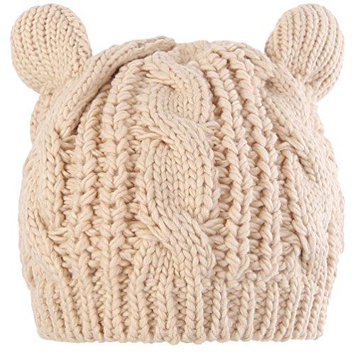 Novawo Lovely Cat Ear Beanie Hat Winter Warm Knit Hats Slouchy Beanie