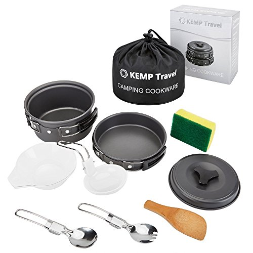 KEMP Travel Camping Cookware - 10pcs Backpacking Cooking Equipment - compact, lightweight anodized pot & pan - Nonstick Cookset - Hiking Mess Kit - Outdoor Gear- Camp Kitchen - Camping Utensil Set