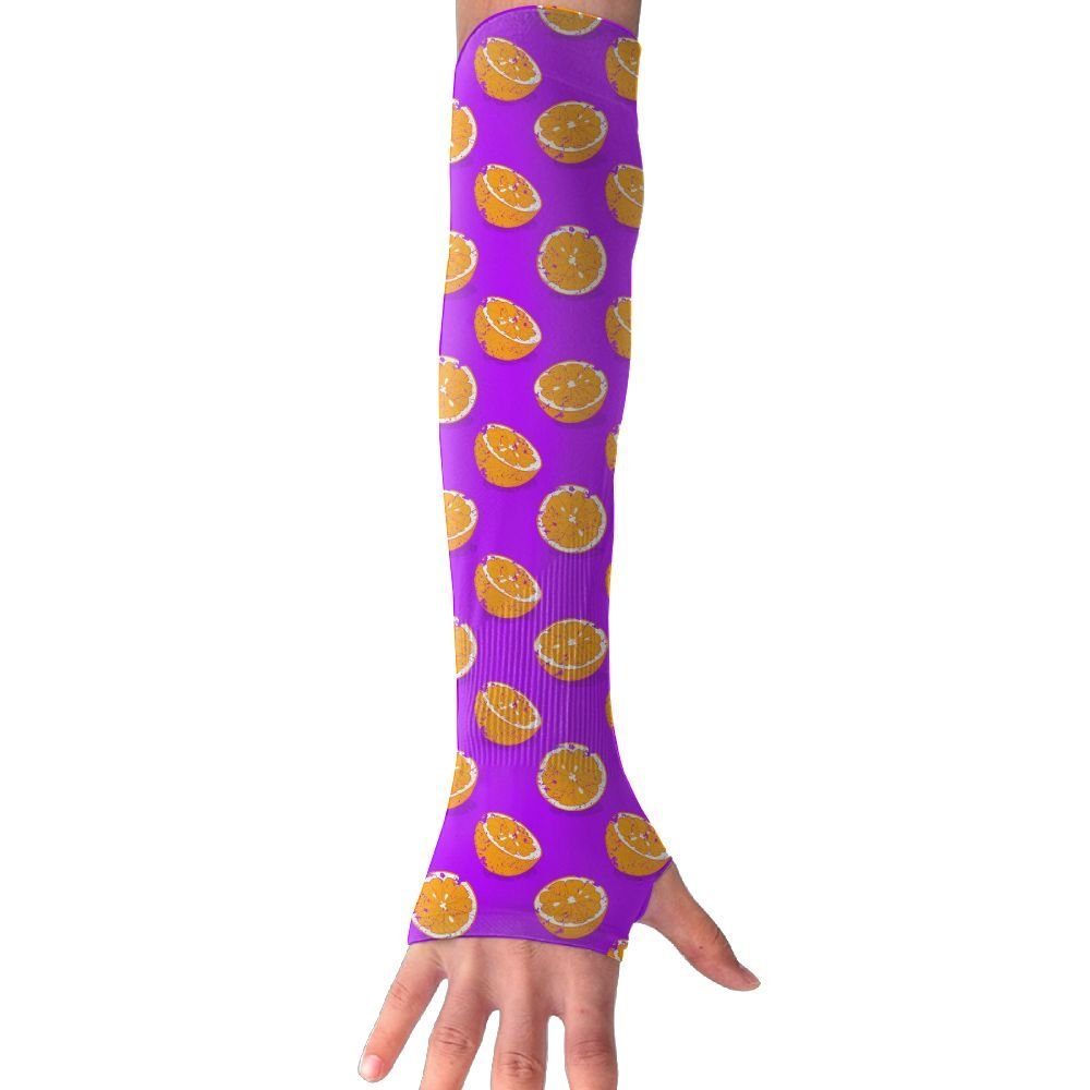 Unisex Retro Orange Sunscreen Outdoor Travel Arm Warmer Long Sleeves Glove