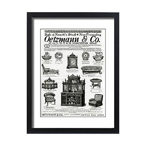 Cane Settee - Framed 24x18 Print of Advert for Oetzmann a Co. Victorian furniture 1885 (14404340)